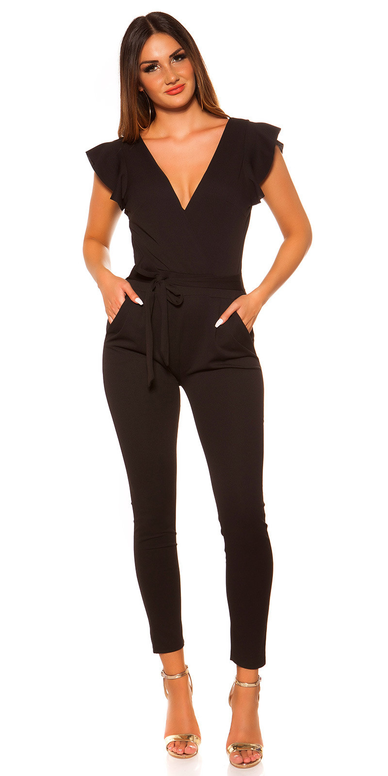 Sexy KouCla V-Cut jumpsuit with flounce Black