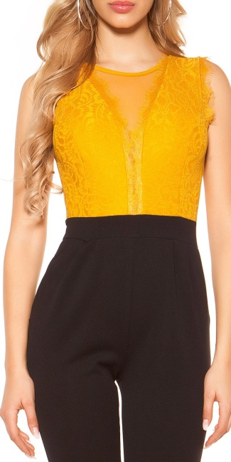 Sexy jumpsuit with lace Mustard