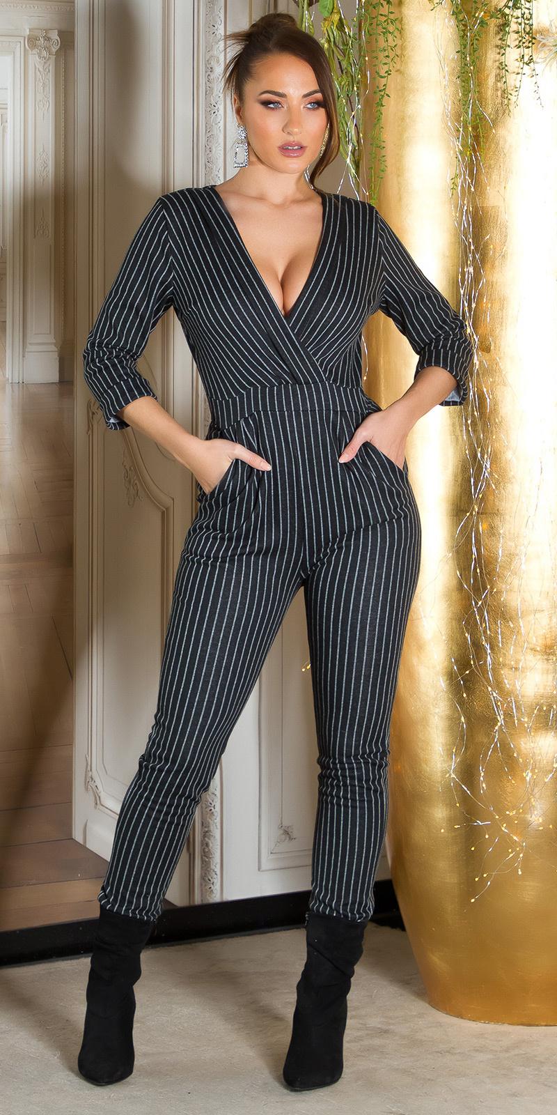 Krijtstreep zakelijke jumpsuit Zwart
