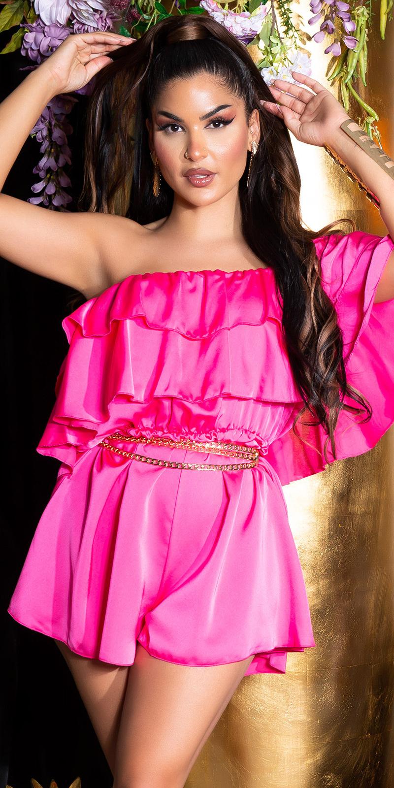 Sexy off-shoulder satijn- look ruffled overall roze