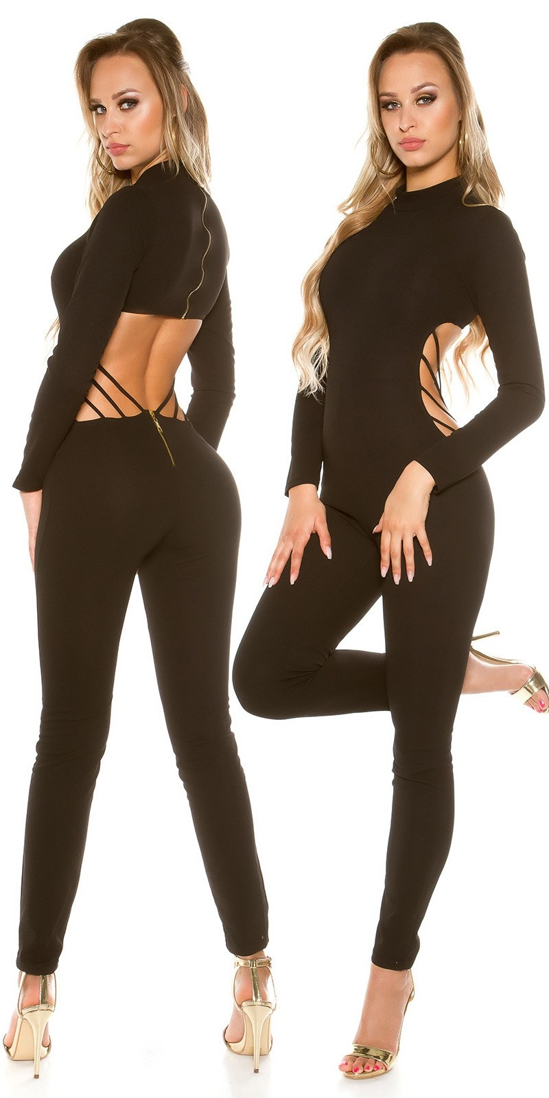 Sexy KouCla Catsuit Sexy Back Cut out Black