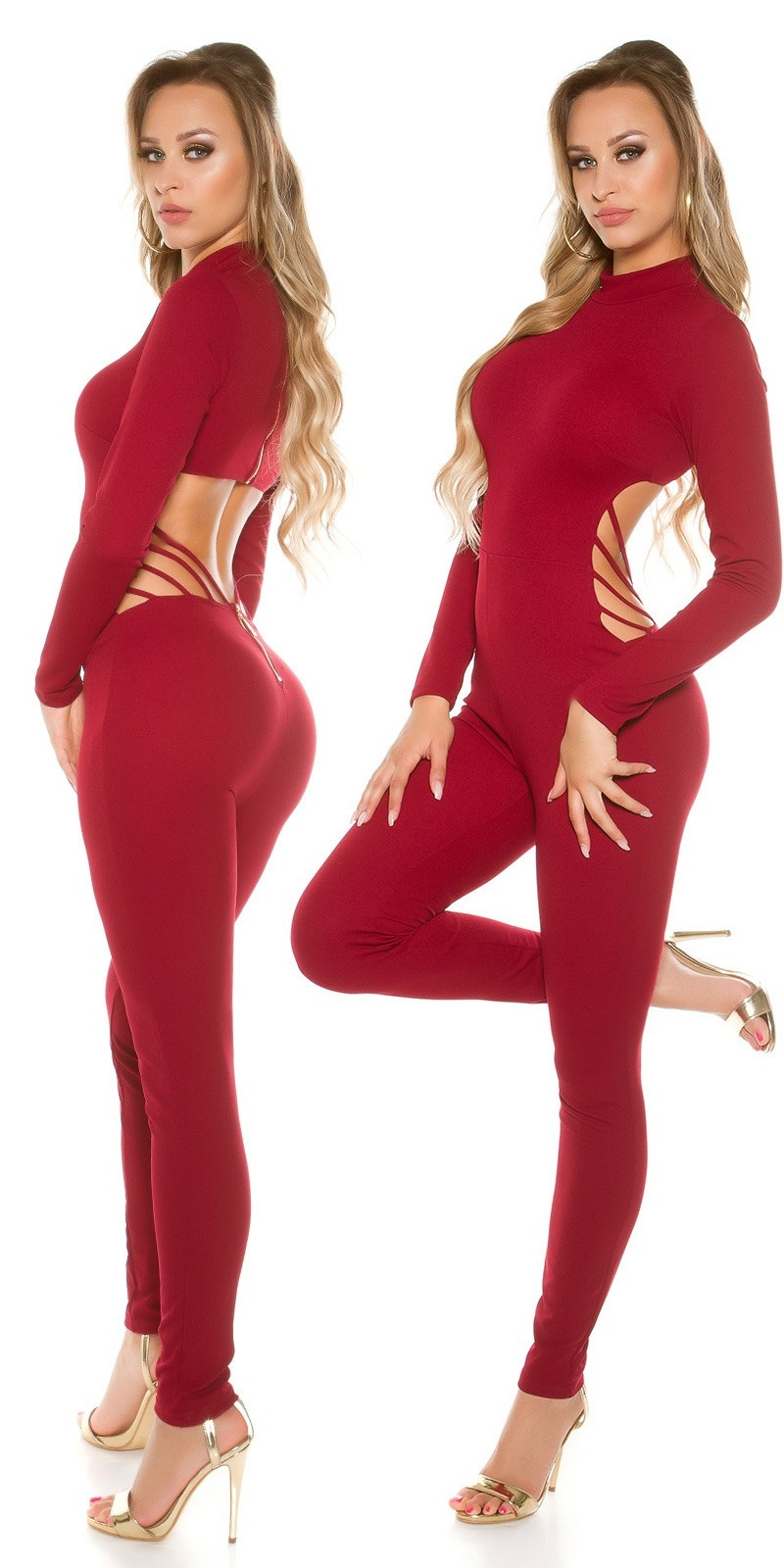 Sexy KouCla Catsuit Sexy Back Cut out Bordeaux