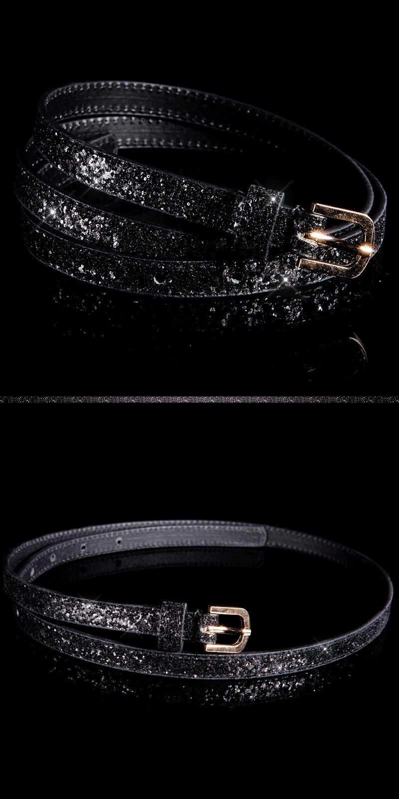 Trendy belt with glitter Black