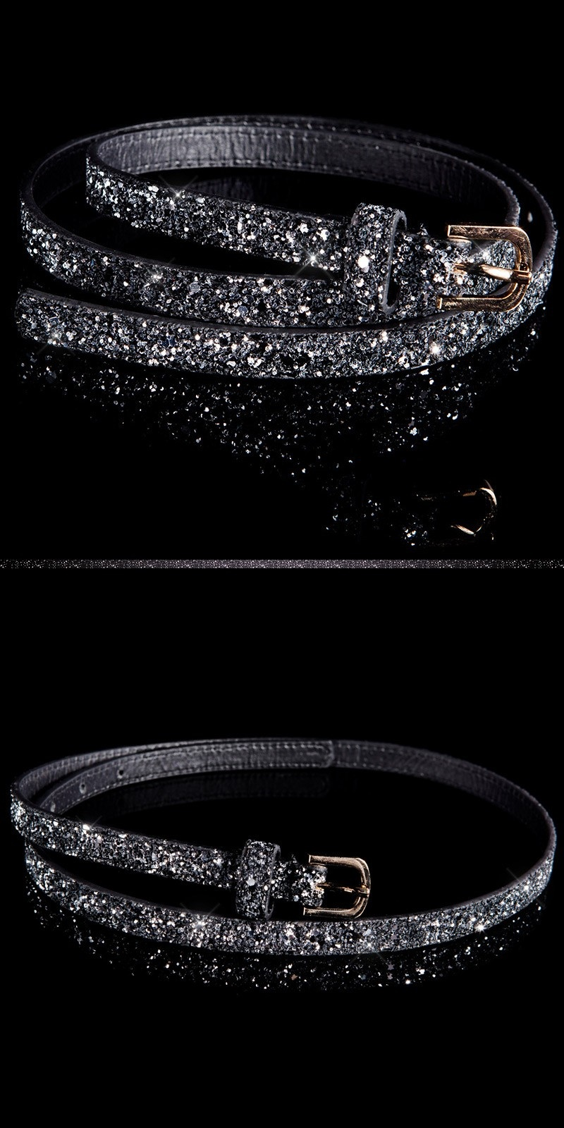 Trendy belt with glitter Blacksilver