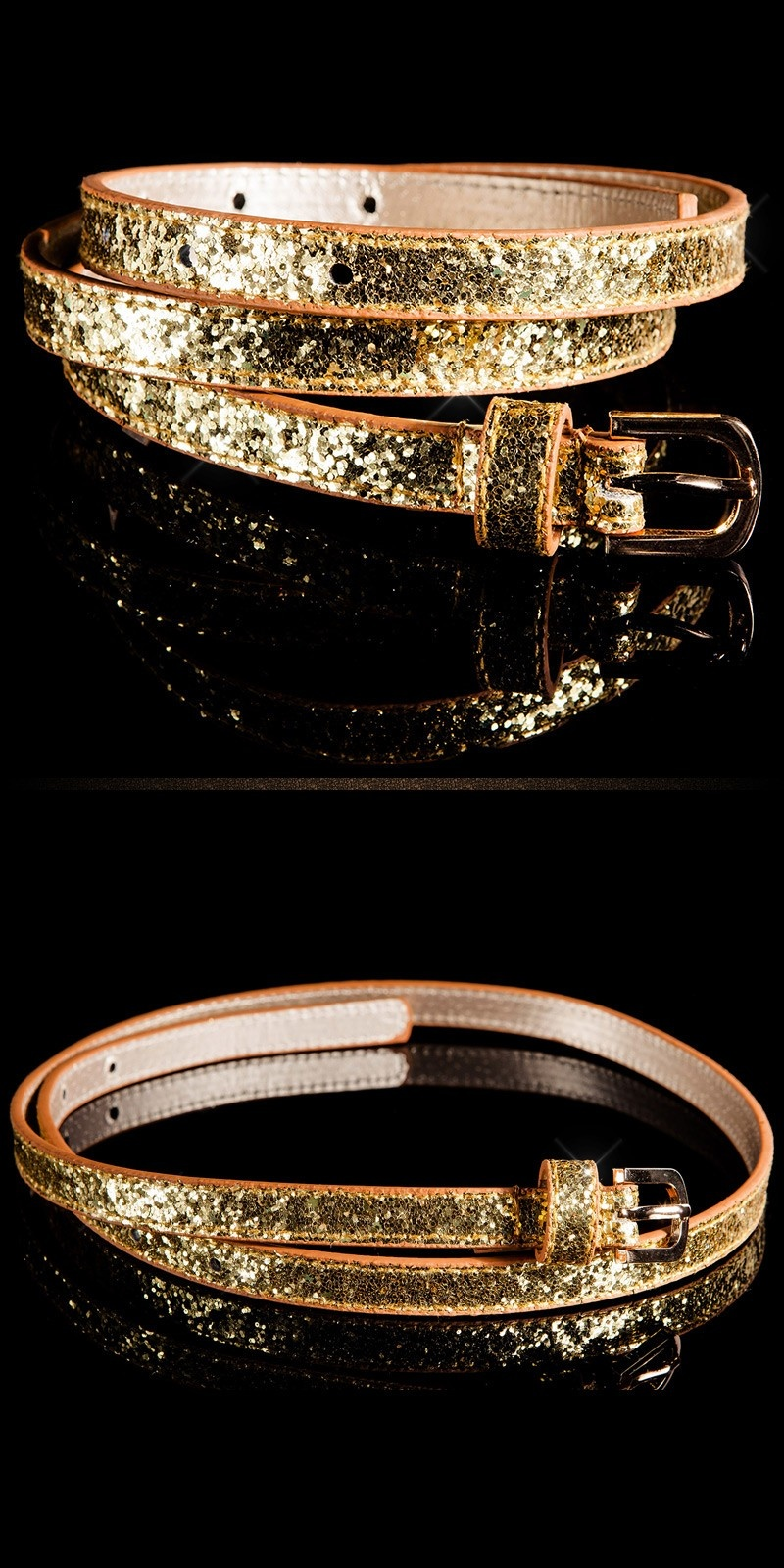 Trendy belt with glitter Gold