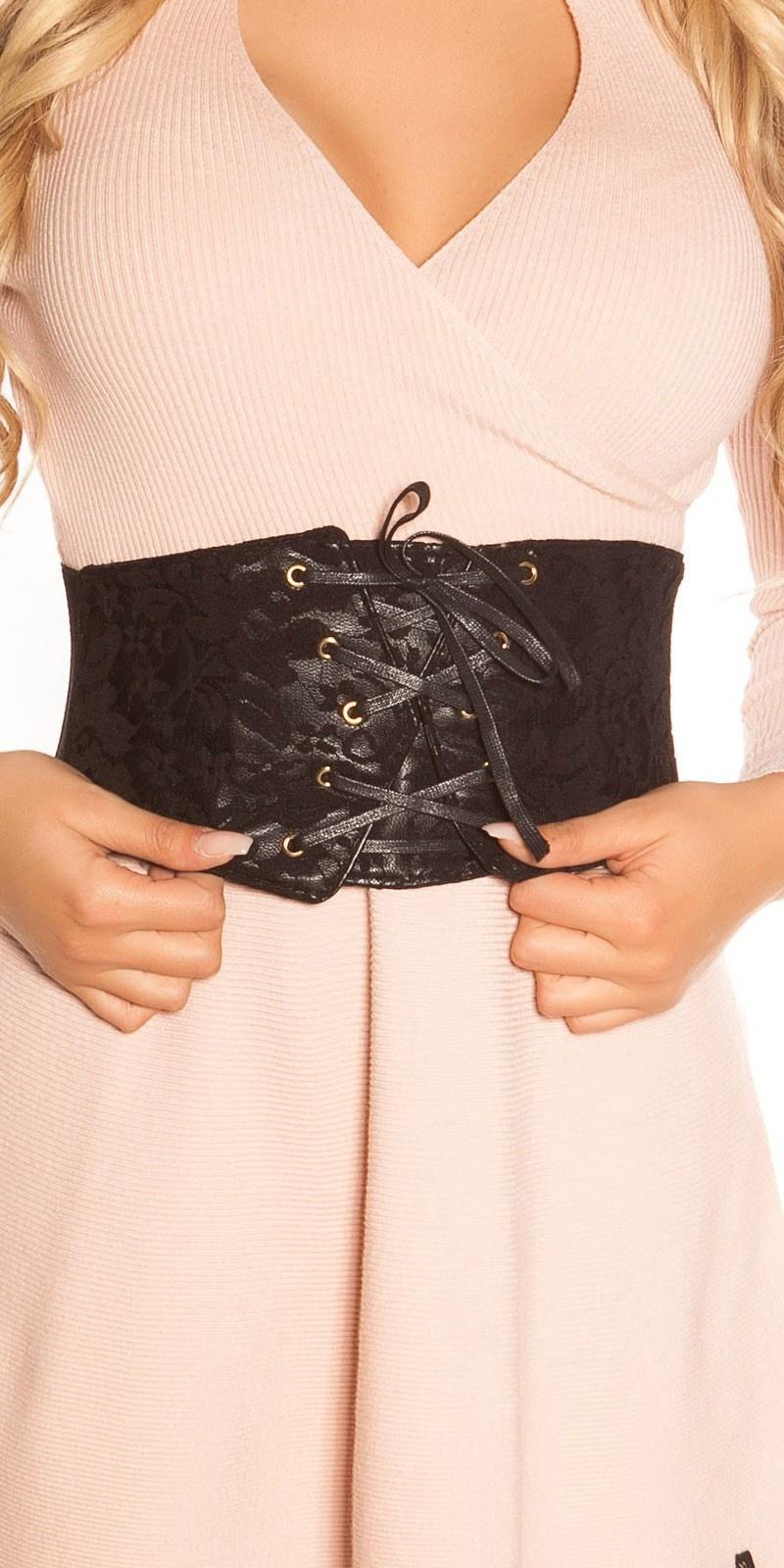 Sexy waist belt in corsage look Black