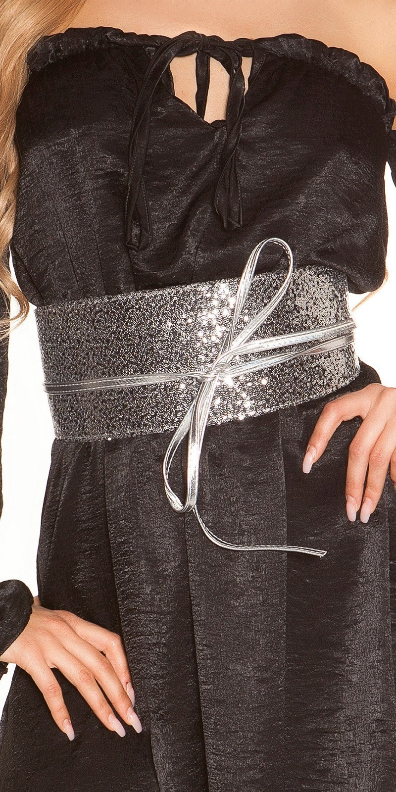 Sexy waist belt with sequins Blacksilver