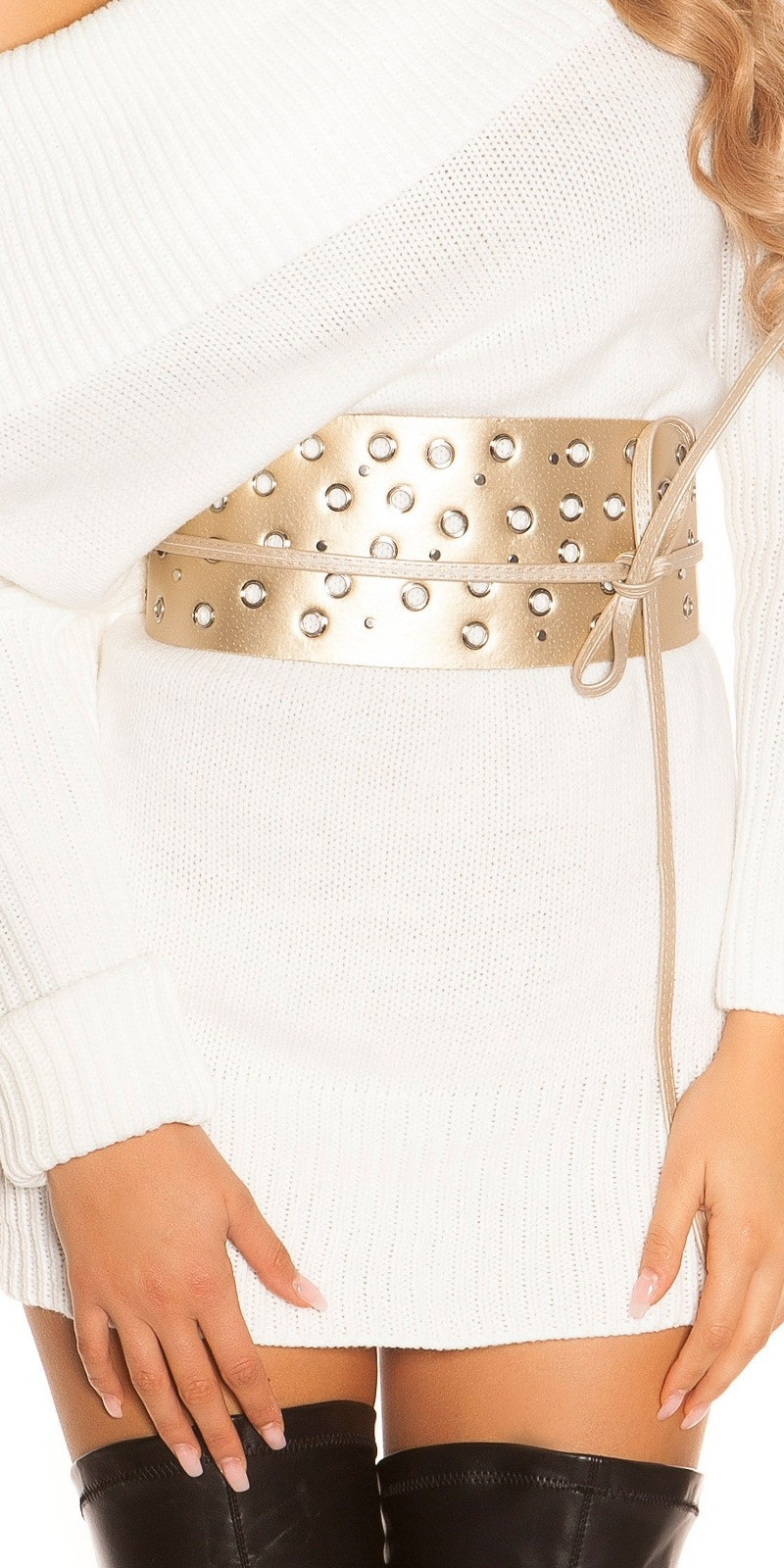 Sexy waist belt with eyelets & rhinestones Gold