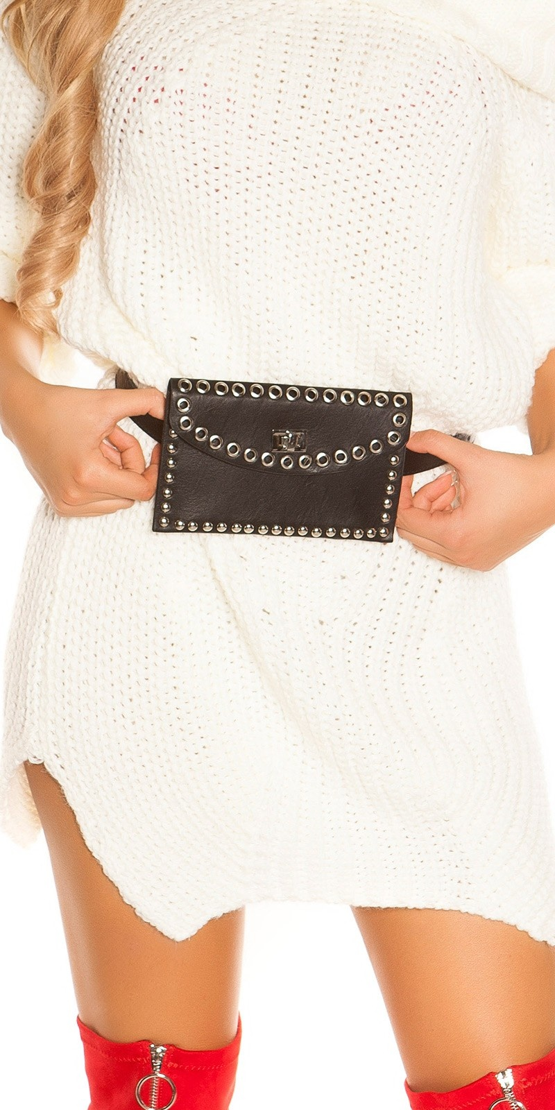Trendy belt bag with studs and eyelets Black