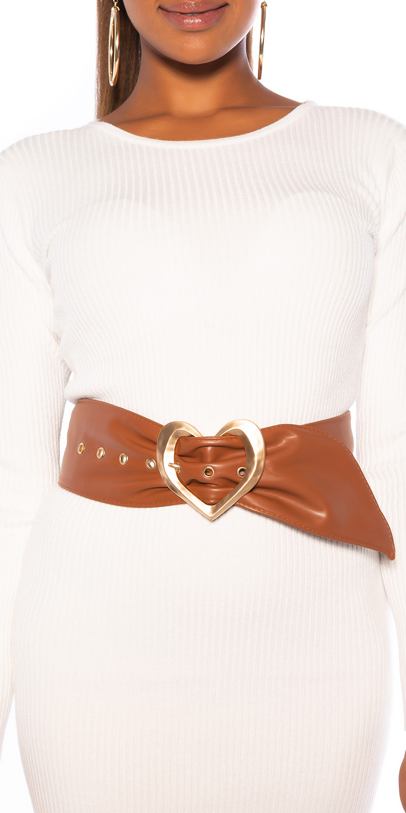 Sexy Belt with Heart Buckle Brown