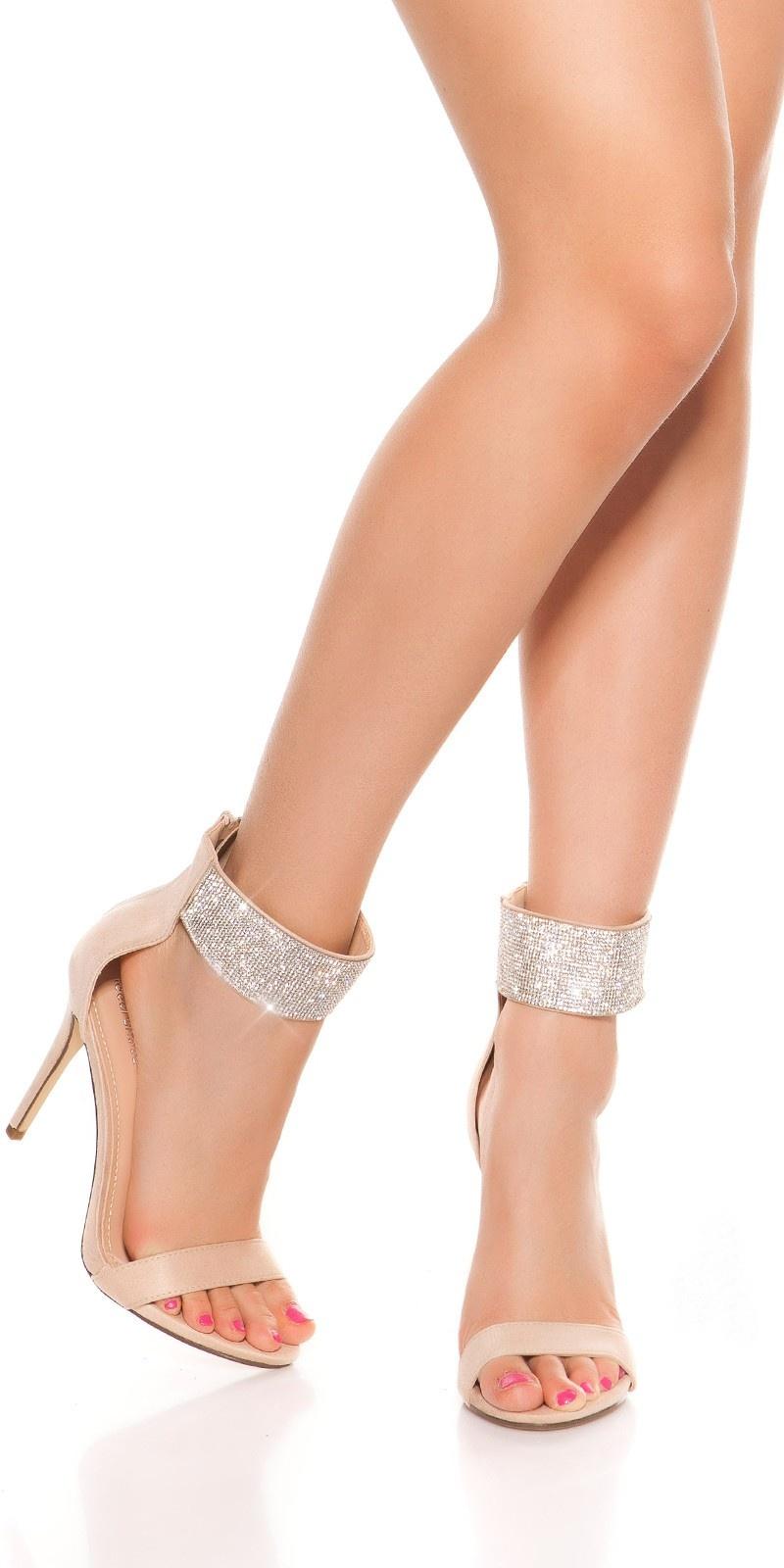 Sexy sandalen-sandaletten met hoge hak en strass steentjes beige