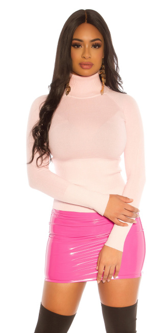 Sexy Basic Turtleneck Sweater Pink