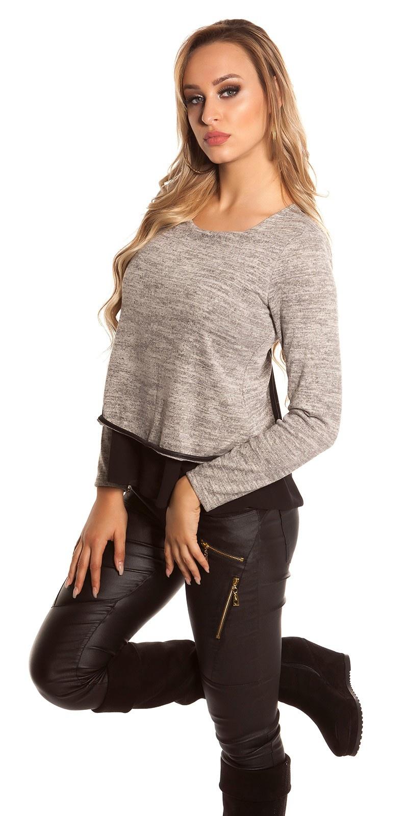 Sexy 2in1 sweater-trui met chiffon beige