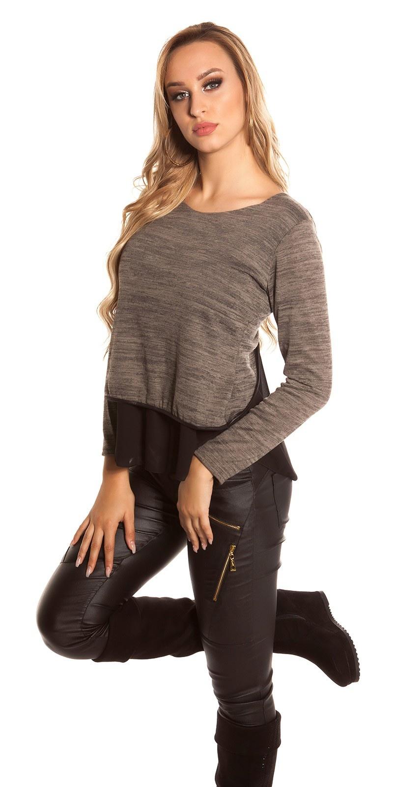 Sexy 2in1 sweater-trui met chiffon cappuccino