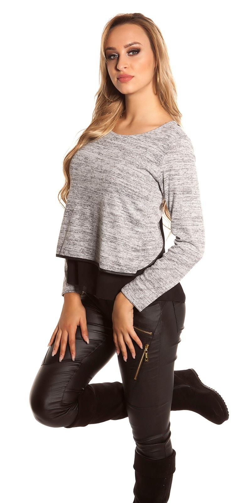 Sexy 2in1 sweater-trui met chiffon grijs