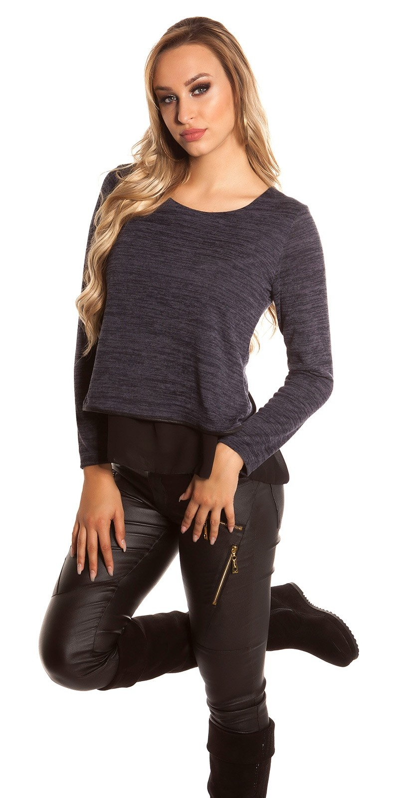 Sexy 2in1 sweater-trui met chiffon marineblauw