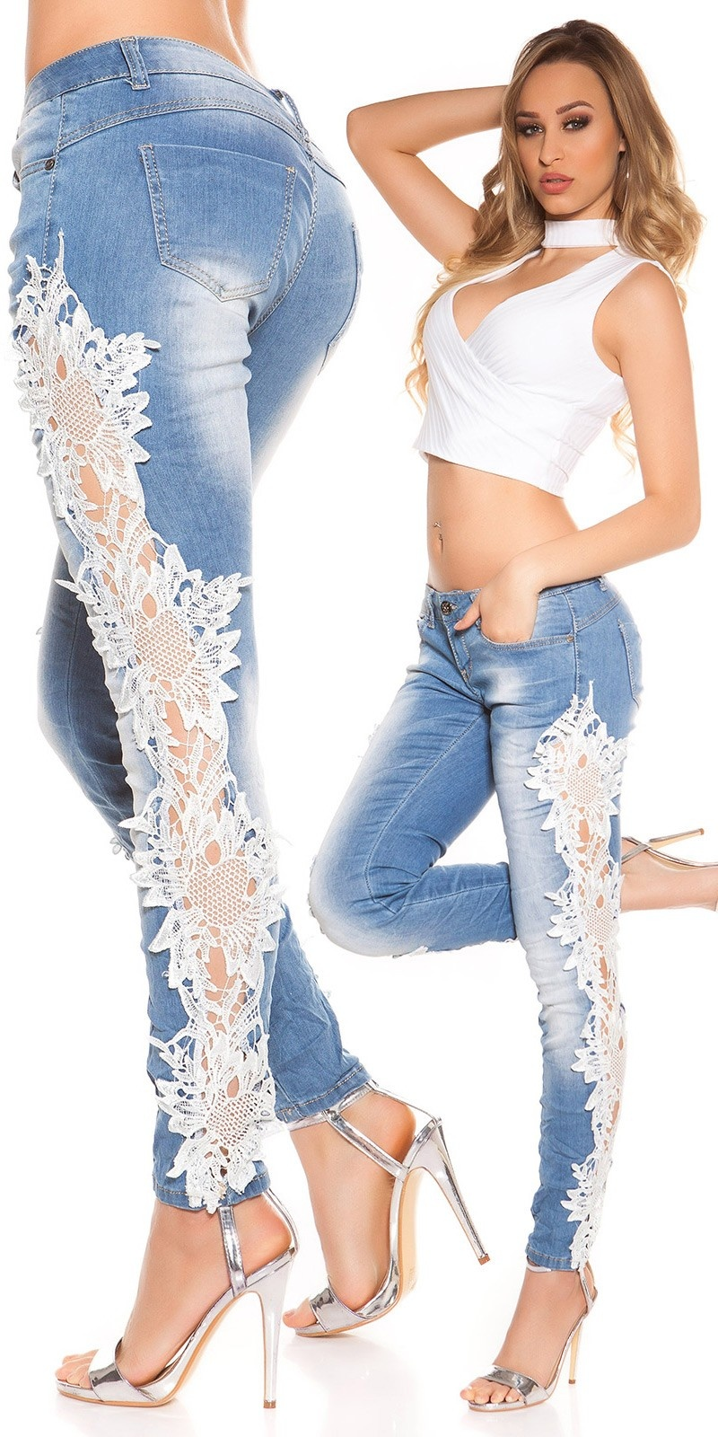 Sexy Koucla Skinnies with lace Jeansblue