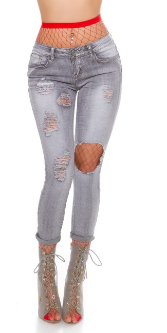 Sexy Skinny Jeans Destroyed Look Grey