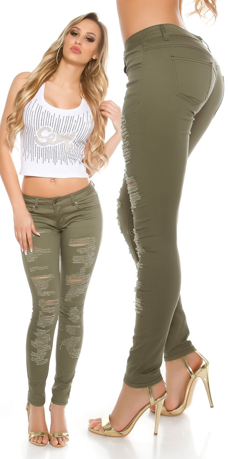 Sexy skinny Jeans destroyed look Khaki