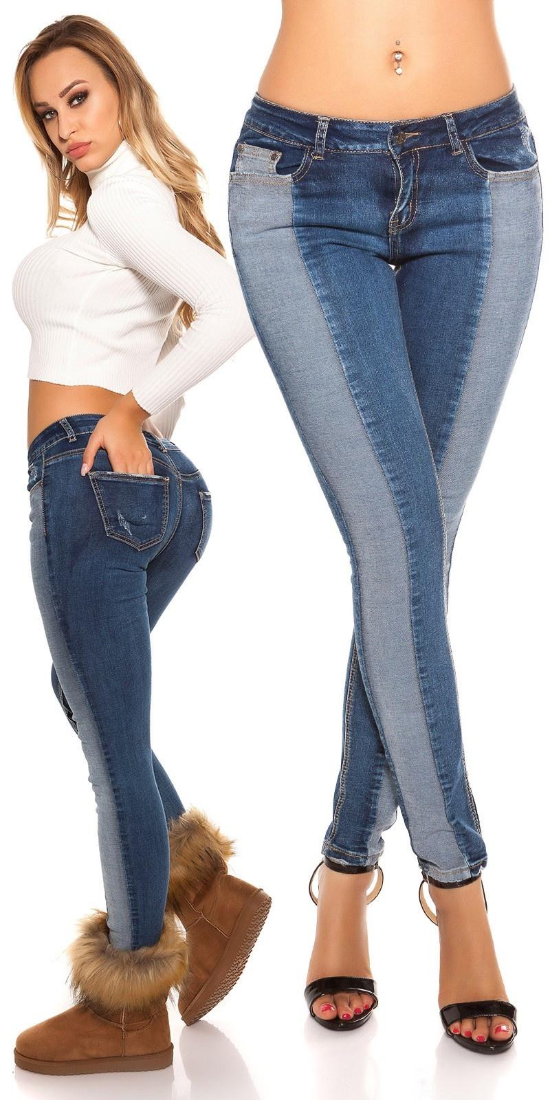 Sexy skinny jeans bi-color jeansblauw