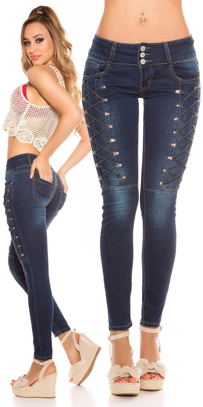 Sexy skinny jeans with lace decoration Jeansblue