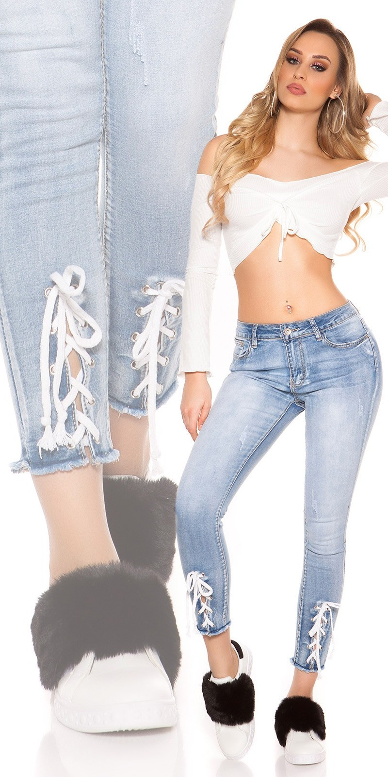 Sexy skinny 7/8 jeans with lacing Jeansblue