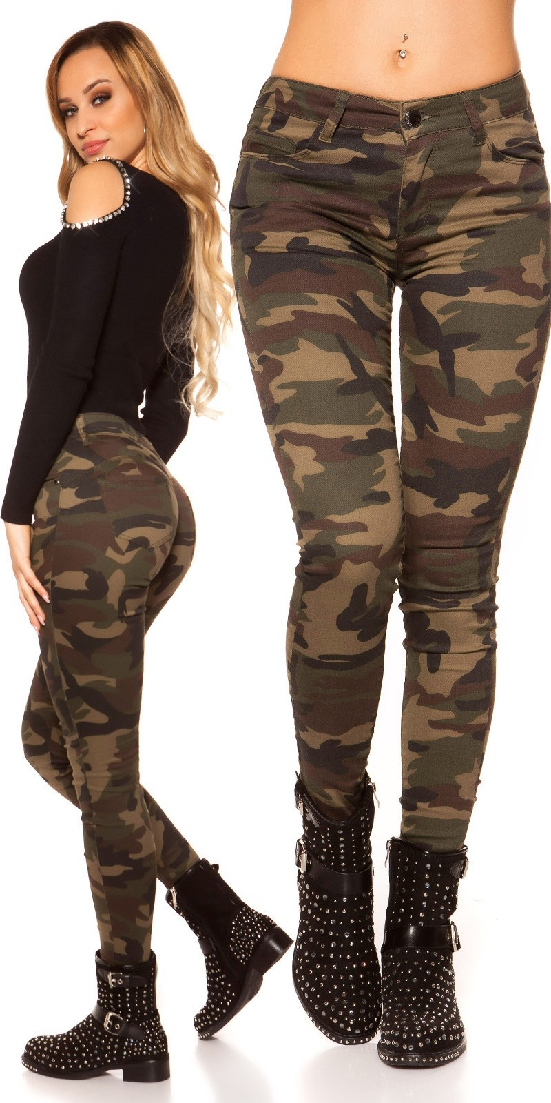 Sexy skinny jeans in camouflage Army