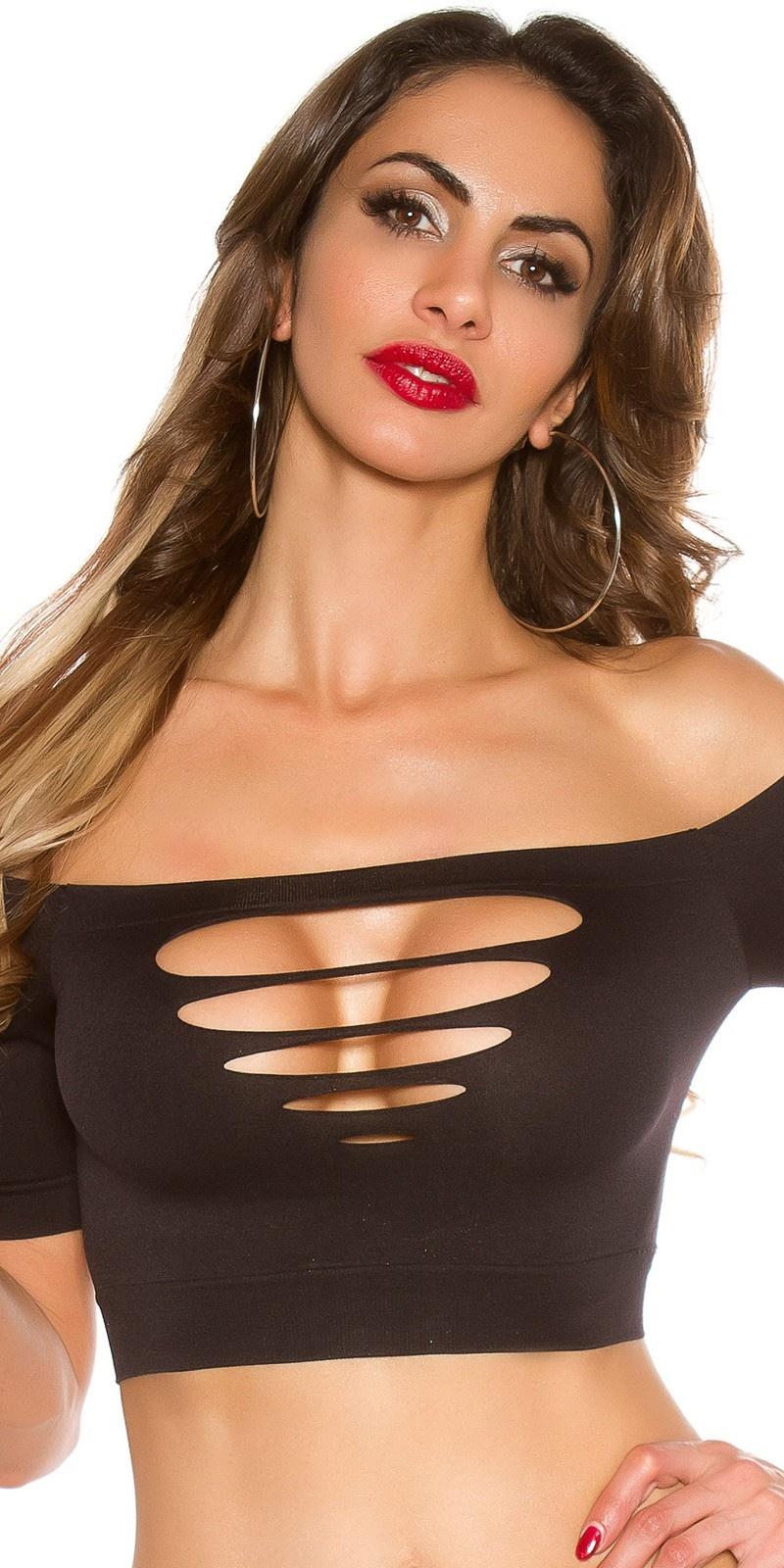 Sexy crop shirt met uitsnijdingen zwart