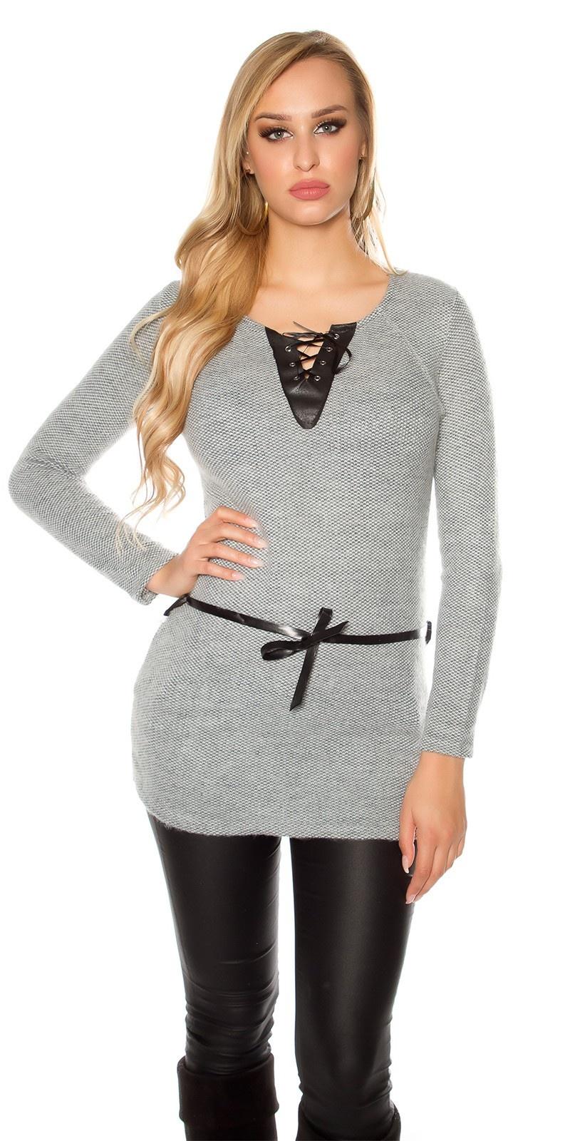 Trendy pullover met kunst leder en veter grijs