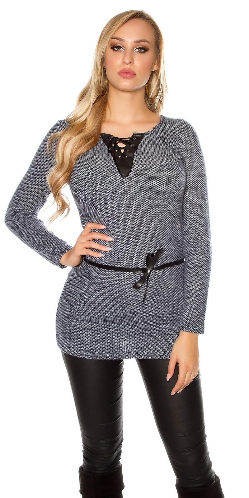 Trendy pullover met kunst leder en veter marineblauw