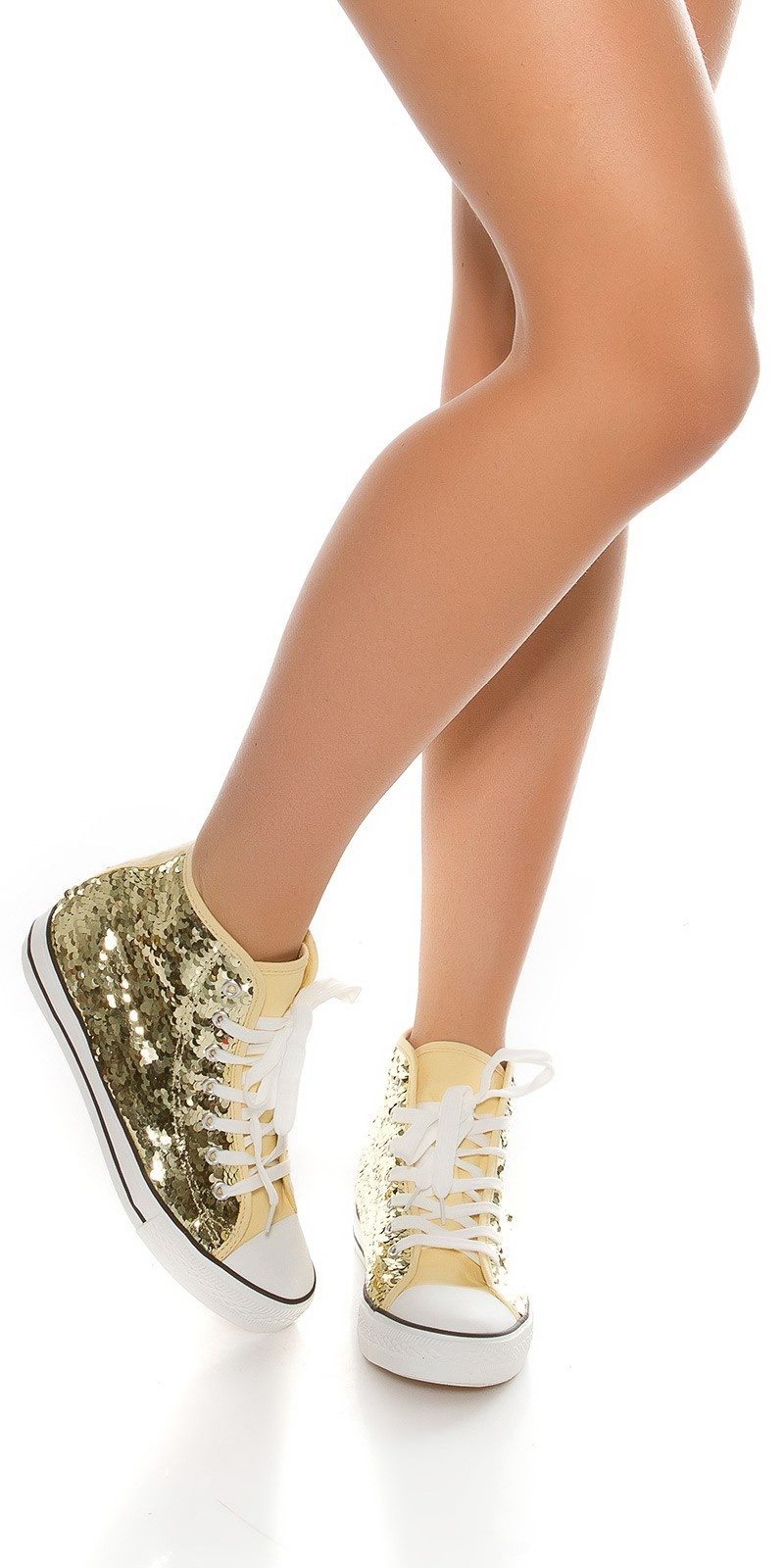 Trendy colour change sequin sneakers Chucks-Style Gold