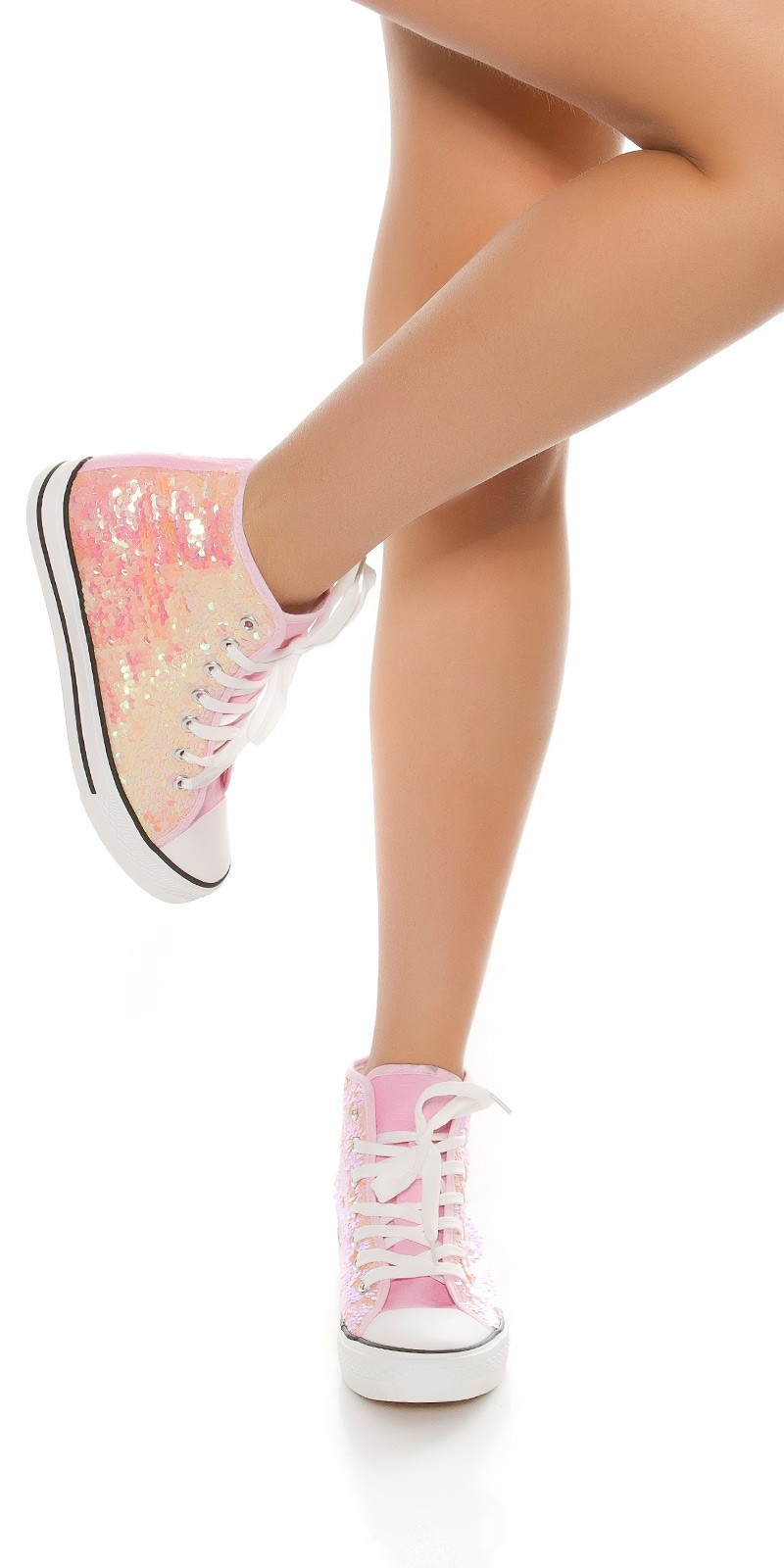 Trendy colour change sequin sneakers Chucks-Style Pink