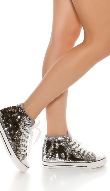 Trendy colour change sequin sneakers Chucks-Style Silver