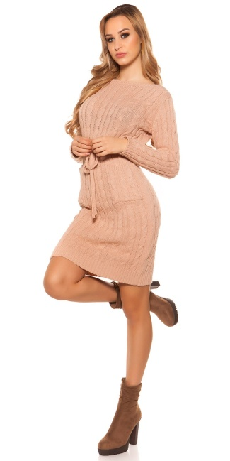 Sexy Roughknit Mini Dress With Tieback Antiquepink