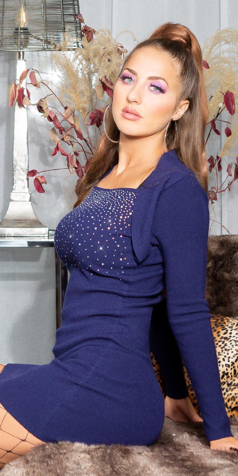 Sexy gebreide jurk met glinsterende steentjes marineblauw