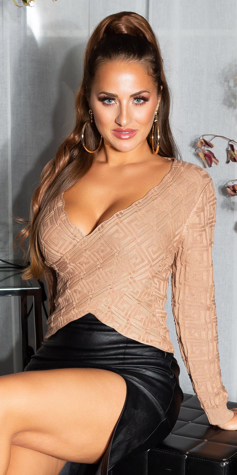 Sexy wikkel look cropped sweater-trui bruin