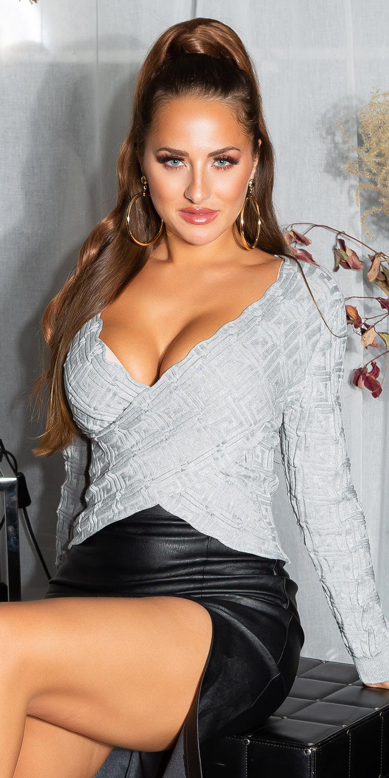 Sexy wikkel look cropped sweater-trui grijs