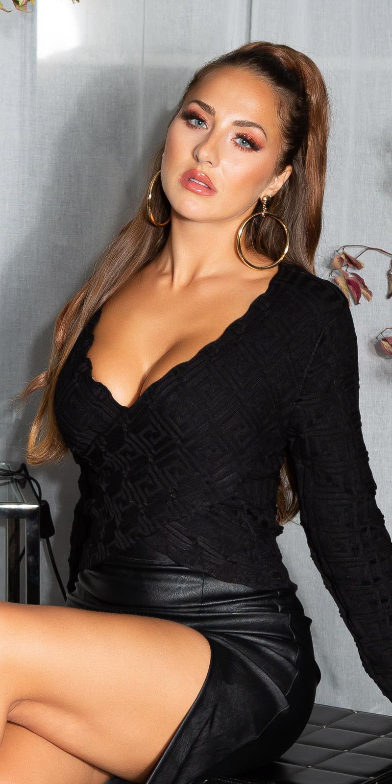 Sexy wikkel look cropped sweater-trui zwart