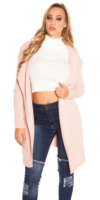 Trendy KouCla Hooded Caridgan Antiquepink
