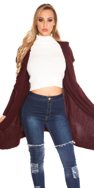 Trendy KouCla Hooded Caridgan Bordeaux