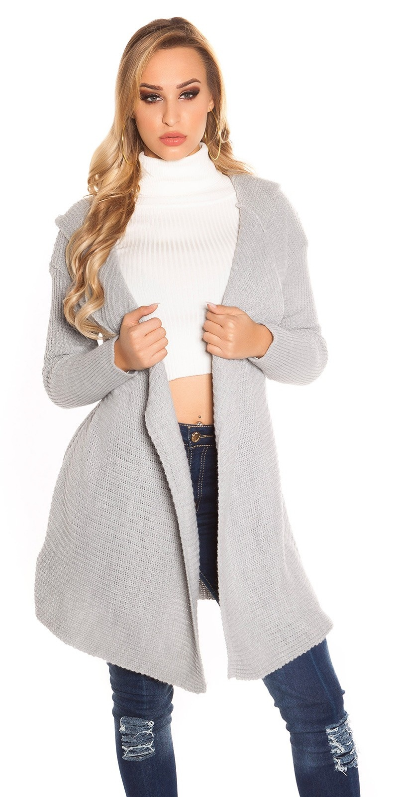 Trendy KouCla Hooded Caridgan Grey