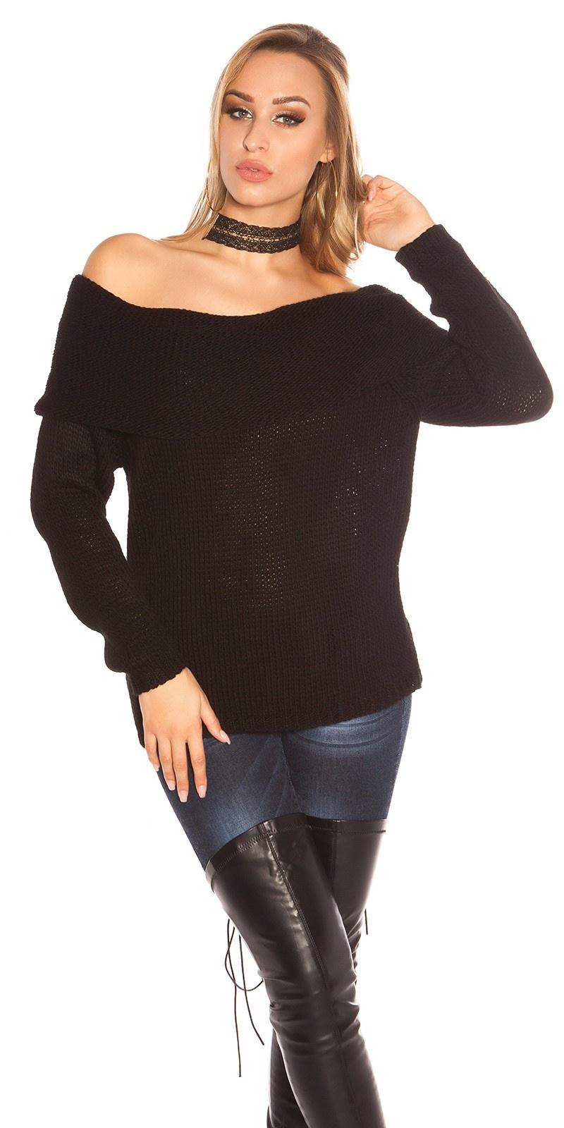 Sexy carmen halslijn gebreide sweater-trui zwart