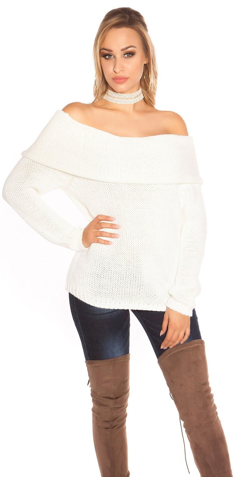 Sexy carmen halslijn gebreide sweater-trui wit