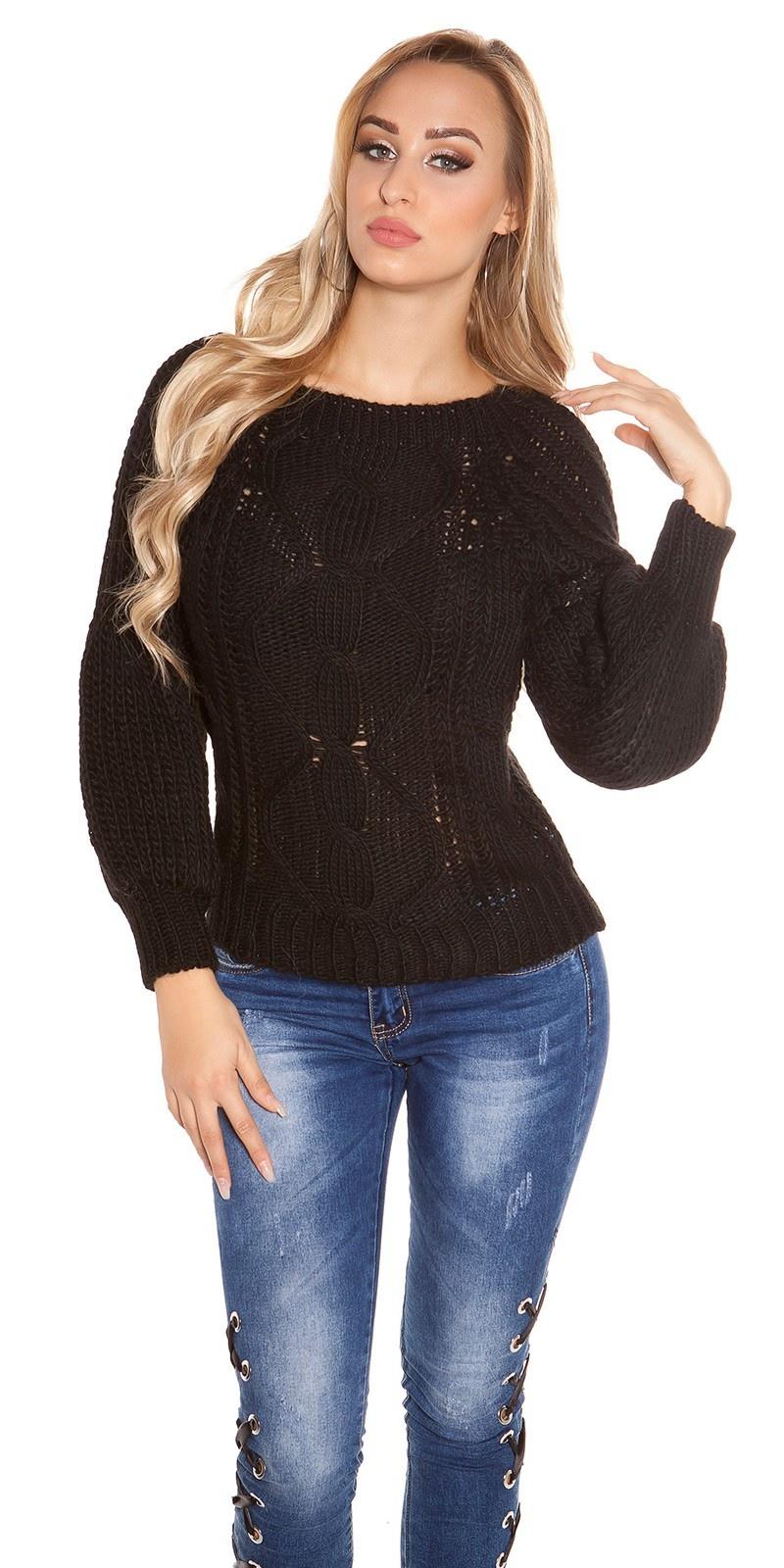 Sexy ruw-grofgebreide trui bell mouwen & ronde hals zwart