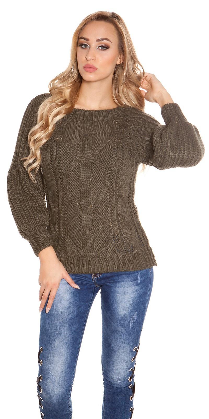 Sexy ruw-grofgebreide trui bell mouwen & ronde hals khaki