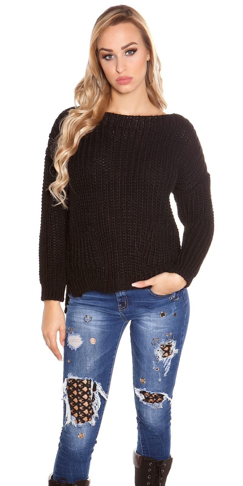 Trendy grof gebreide sweater-trui met zakken zwart