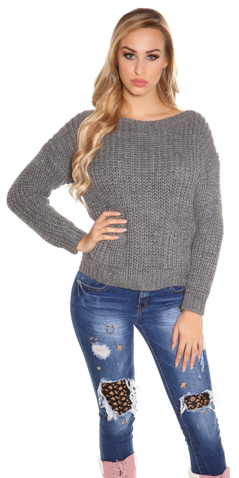Trendy KouCla chunky knit sweater with pockets Grey