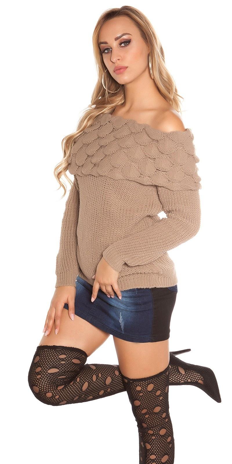 Trendy KouCla rough knitted jumper w. XL collar Cappuccino