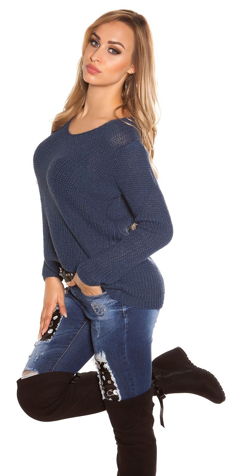 Trendy ruw-grof gebreide sweater-trui met ronde hals marineblauw