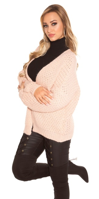 Trendy KouCla chunky knit cardigan Antiquepink